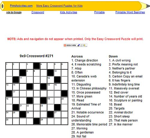 Top 7 Websites With Kids Printable Crossword Puzzles