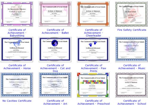 free awards certificates for elementary students
