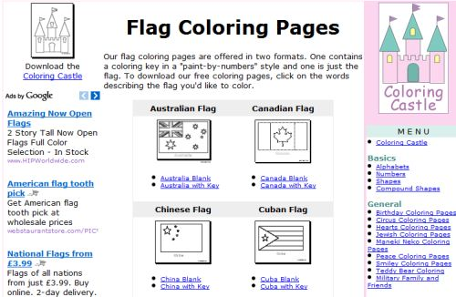 6 websites with free printable flags for children printable flags for children coloring castle main listing of countries publicscrutiny Image collections