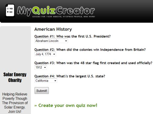 make own quiz