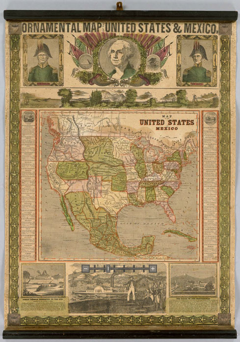 An Ornamental Map Of The Us States And Mexico From 1820