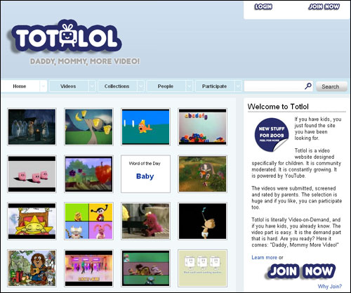 Totlol privides a great way for parents to safely find Youtube videos their